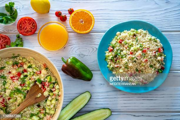 tabbouleh couscous salad recipe vegetarian from middle east - tabbouleh stock pictures, royalty-free photos & images