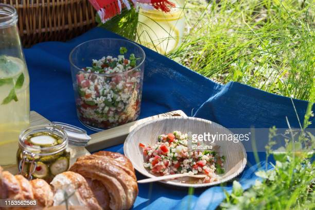 tabbouleh salad, picnic in summer park - tabbouleh stock pictures, royalty-free photos & images