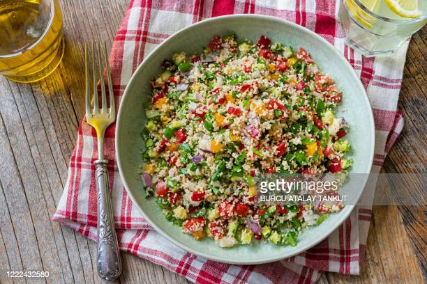 tabbouleh salad with bulgur wheat - tabbouleh stock pictures, royalty-free photos & images