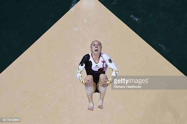 Tabea Alt of Germany competes on the floor during quailifaction in the Artistic Gymnastics Aquece Rio Test Event at the Olympic Olympic Arena on...