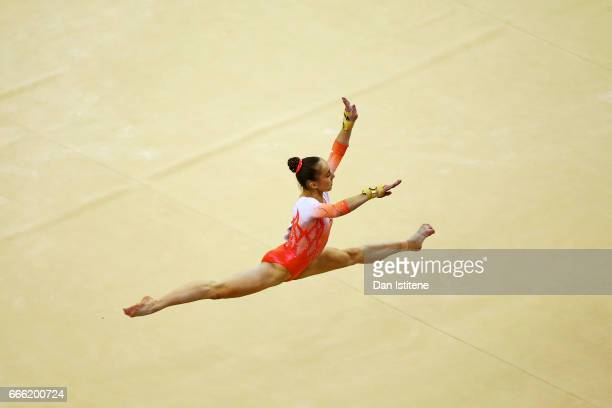 Tabea Alt of Germany competes on the floor during the women's competition for the iPro Sport World Cup of Gymnastics at The O2 Arena on April 8 2017...