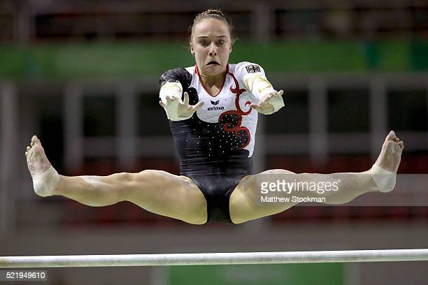 Tabea Alt of Germany competes on the uneven bars during the Final Gymnastics Qualifier Aquece Rio Test Event for the Rio 2016 Olympics at the Olympic...