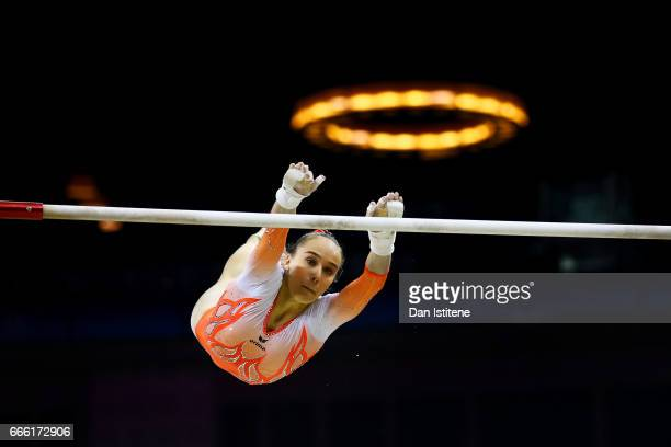 Tabea Alt of Germany competes on the uneven bars during the women's competition for the iPro Sport World Cup of Gymnastics at The O2 Arena on April 8...