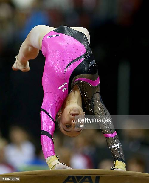 Tabea Alt of Germany competes on the vault during the 2016 ATT American Cup on March 5 2016 at Prudential Center in Newark New Jersey