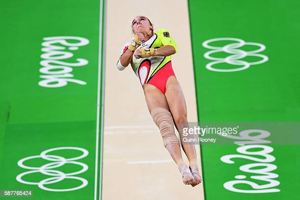 Tabea Alt of Germany competes on the vault during the Artistic Gymnastics Women's Team Final on Day 4 of the Rio 2016 Olympic Games at the Rio...