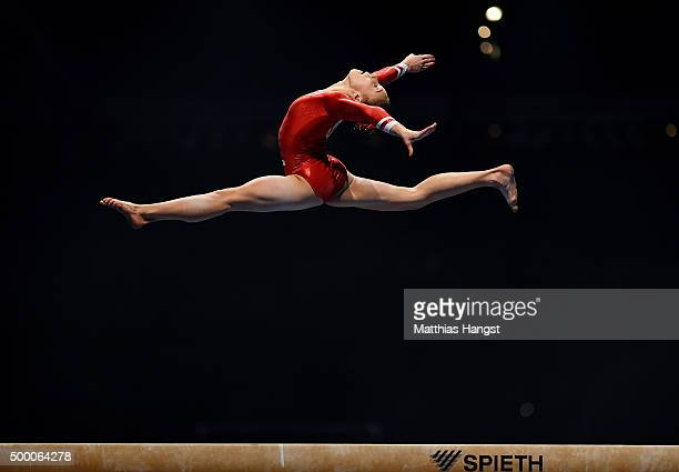 Tabea Alt of MTV Stuttgart competes on the Beam during the Women's DTL Finals 2015 at Messehalle 2 on December 5 2015 in Karlsruhe Germany
