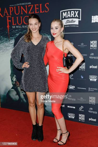 Tabea Georgiamo and Sophie Swan attend the photocall and premiere of the horror movie Rapunzels Fluch at UCI Luxe Mercedes Platz on July 31 2020 in...