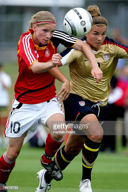 Tabea Kemme of Germany beats Amber Brooks of the USA to the ball during the Under 17 Four Nations match between the United States of America and...