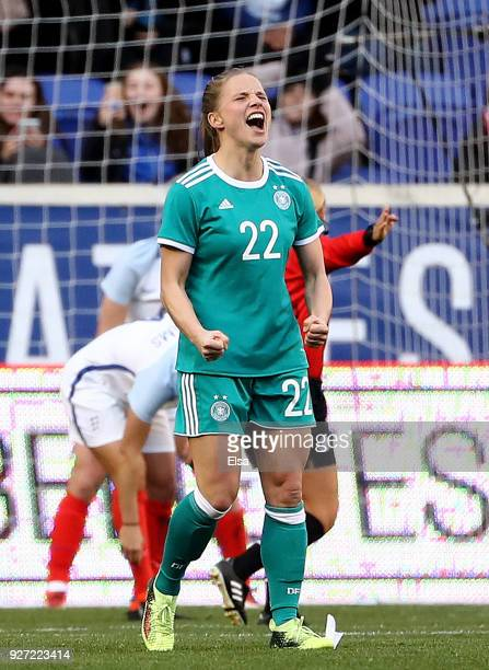 Tabea Kemme of Germany celebrates a goal in the second half against England during the SheBelieves Cup at Red Bull Arena on March 4 2018 in Harrison...