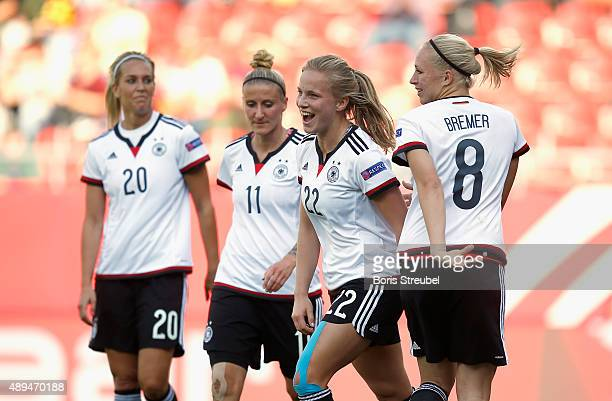 Tabea Kemme of Germany celebrates a goal with team mates during the UEFA Women's Euro 2017 Qualifier between Germany and Hungary at Erdgas Sportpark...