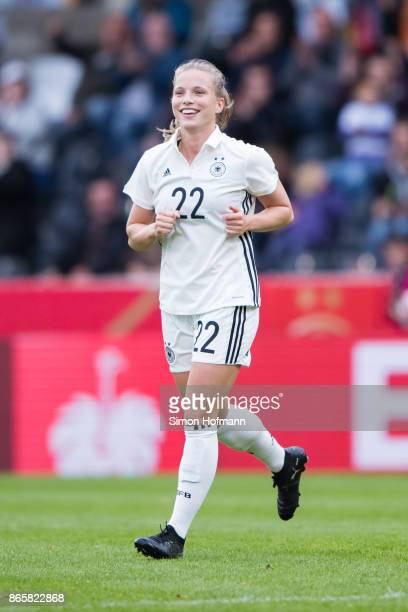 Tabea Kemme of Germany celebrates her team's second goal during the 2019 FIFA Women's World Championship Qualifier match between Germany and Faroe...
