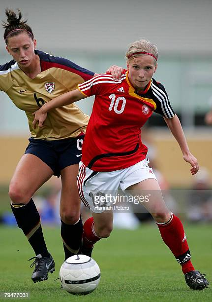 Tabea Kemme of Germany controls the ball during the Under 17 Four Nations match between the United States of America and Germany at North Harbour...
