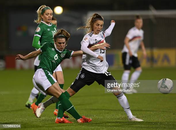Tabea Wabmuth of Germany and Jamie Finn of Republic of Ireland during the international UEFA U21 Womens Championship Group I game between Republic of...