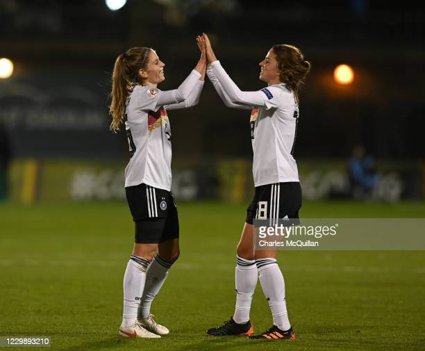 Tabea Wabmuth of Germany celebrates with Melanie Leupolz after scoring during the international UEFA U21 Womens Championship Group I game between...
