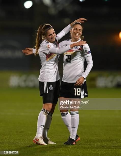 Tabea Wabmuth of Germany celebrates with team mate Melanie Leupolz after scoring during the international UEFA U21 Womens Championship Group I game...