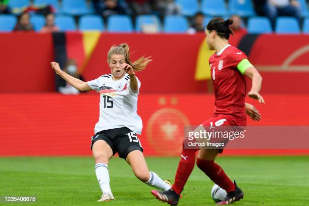Tabea Wassmuth of Germany and Nevena Damjanovic of Serbia battle for the ball during the FIFA Women's World Cup 2023 Qualifier group H match between...