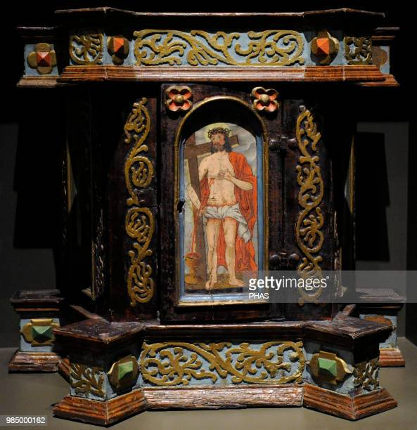 Tabernacle 1661 Polychrome wood Bzie Zameckie Poland Silesian Museum Katowice Poland
