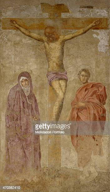 Tabernacle Boldrone by Jacopo Carrucci known as Pontormo 16th century fresco Italy Tuscany Florence Accademia del Disegno Detail Crucified Christ...