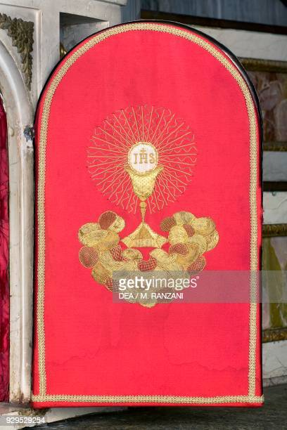 Tabernacle door on the high altar designed by Leopoldo Pollack presbytery of the Collegiate church of St Stephen Vimercate Lombardy Italy 11th12th...