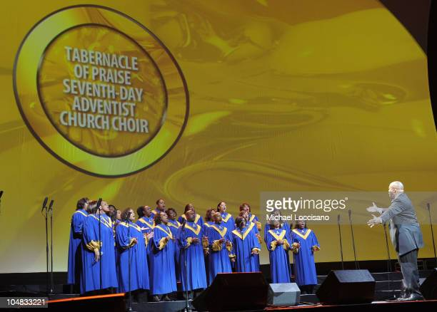 Tabernacle of Praise SeventhDay Adventist Church Choir performs on stage during Verizon's How Sweet The Sound 2010 concert at Scottrade Center on...