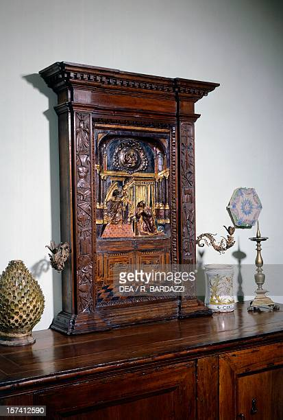 Tabernacle with late Renaissance style polychromatic Annunciation Living room or Room 4 Siviero House Florence Italy 16th century