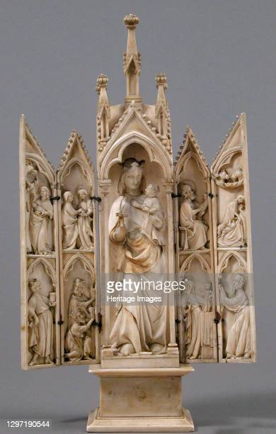 Tabernacle with Scenes from the Infancy of Christ, French, circa 1340-50. Artist Unknown.