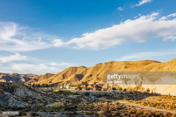 tabernas desert and western leone filmset - semiarid stock-fotos und bilder