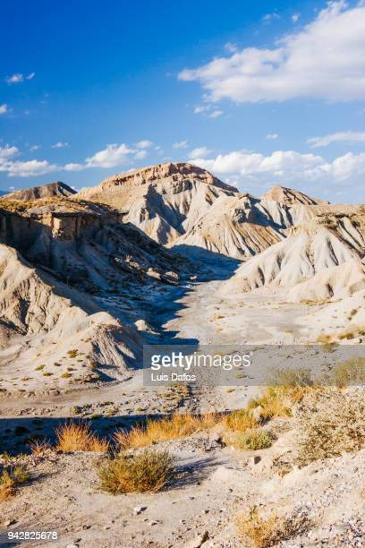 tabernas desert landscape - semiarid stock-fotos und bilder