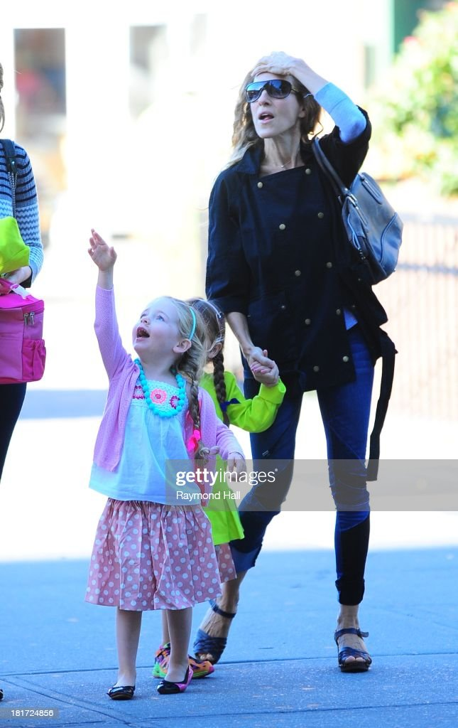 Tabitha Broderick, actress Sarah Jessica Parker and Marion Broderick are seen in Soho on September 23, 2013 in New York City.