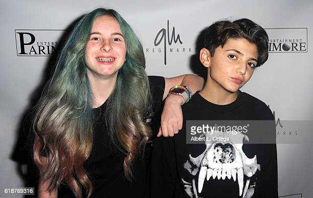 Tabitha Chadwick and Aaron Melloul attend Greg Marks' Music Video Release Party held at Busby's on October 27 2016 in Los Angeles California