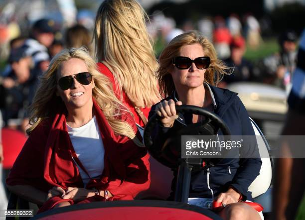 Tabitha Furyk and Amy Mickelson during the first round of the Presidents Cup at Liberty National Golf Club on September 28 in Jersey City New Jersey
