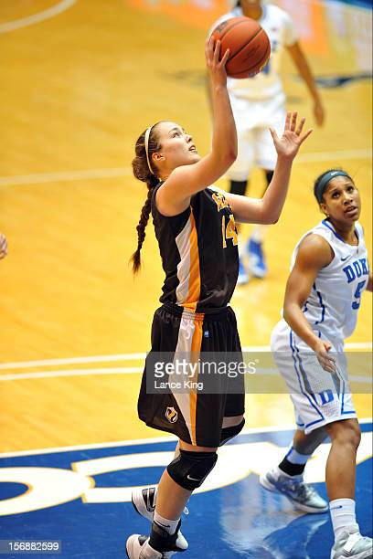 Tabitha Gerardot of the Valparaiso Crusaders puts up a shot against the Duke Blue Devils at Cameron Indoor Stadium on November 23 2012 in Durham...