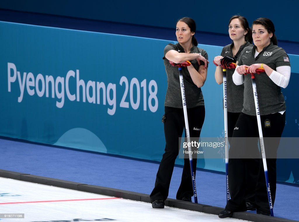 Tabitha Peterson, Aileen Geving and Becca Hamilton of the United States wait to play a rockin a match against Canada during the Women's Curling Round Robin on day eight of the PyeongChang 2018 Winter Olympic Games at Gangneung Curling Centre on February 17, 2018 in Gangneung, South Korea.