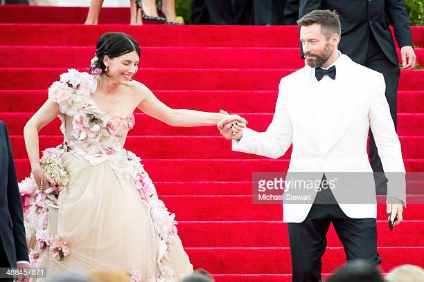 Tabitha Simmons and Hugh Jackman attend the Charles James Beyond Fashion Costume Institute Gala at the Metropolitan Museum of Art on May 5 2014 in...