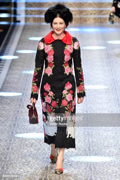 Tabitha Simmons walks the runway at the Dolce Gabbana show during Milan Fashion Week Fall/Winter 2017/18 on February 26 2017 in Milan Italy