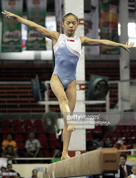 Tabitha Tay Jia Hui of Singapore performs on the balance beam during the finals Women's Artistic Gymnastics Individual Event of the 23rd South East...