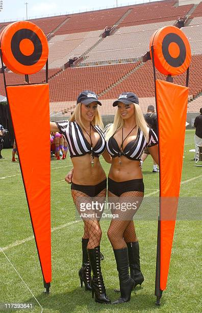 Tabitha Taylor and Jasmine Fiore during Lingerie Bowl IV National KickOff Press Conference for 2007 Super Bowl at The Los Angeles Coliseum in Los...