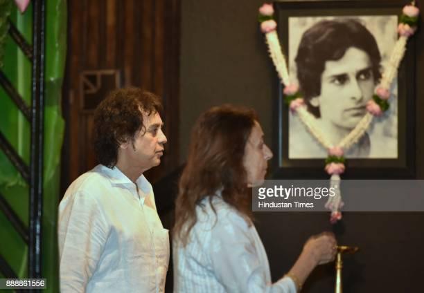 Tabla maestro Ustad Zakir Hussain during a condolence meeting of late actor Shashi Kapoor at Prithvi Theatre Juhu on December 7 2017 in Mumbai India...