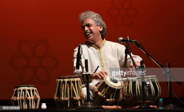 Tabla player Ustad Fazal Qureshi performs along with various artists at St Andrew's Auditorium Bandra on April 29 2018 in Mumbai India