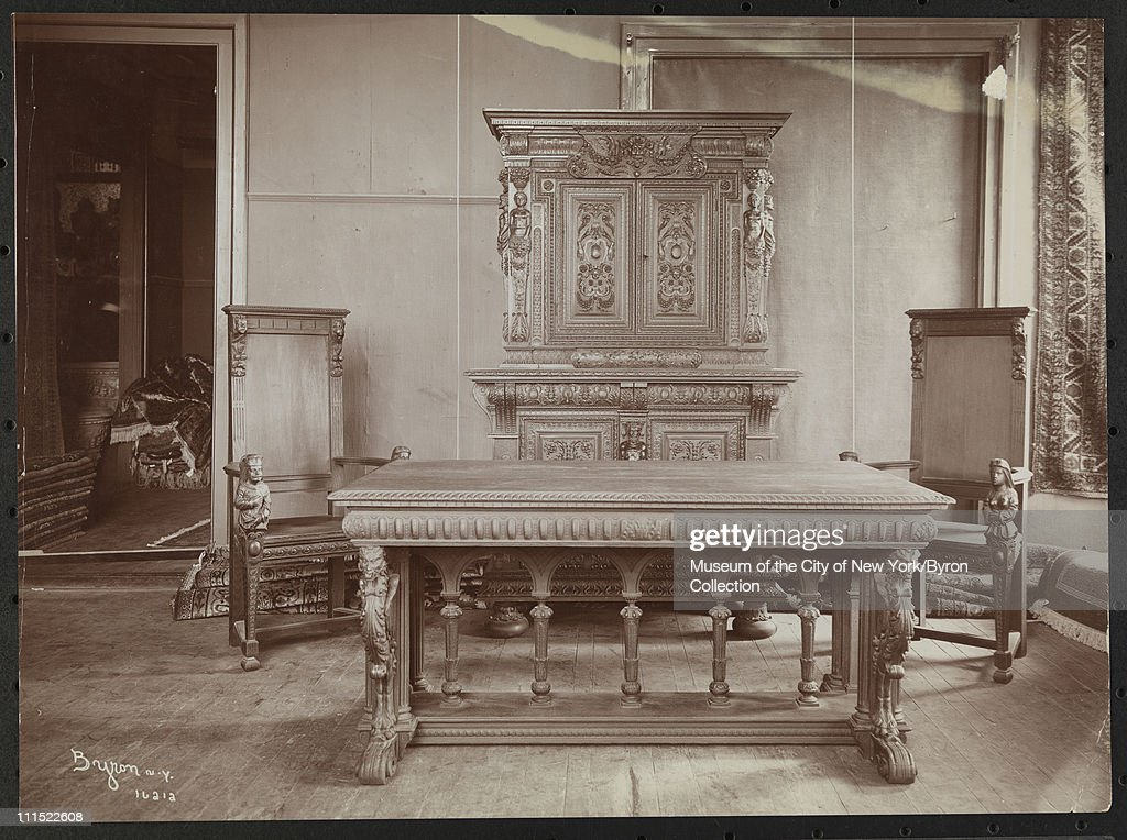 Table, a high chest and two chairs at Tiffany's, New York, New York, 1903.