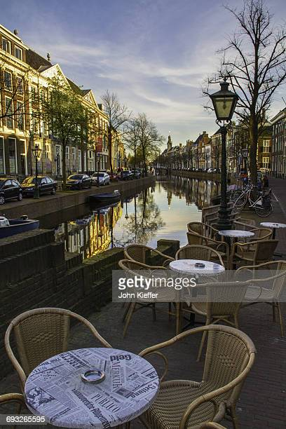 Table along Dutch canal.