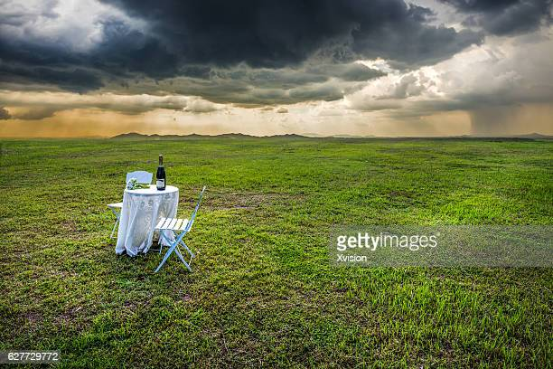 table and chair with wine on grass field under rainstorm