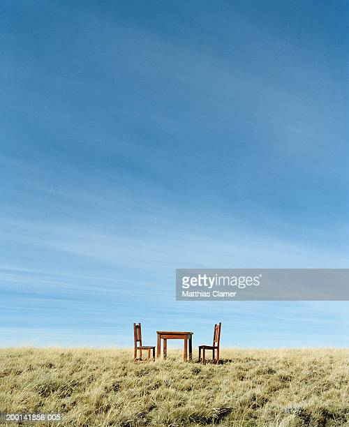 Table and chairs in field, side view