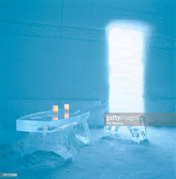 Table and stool in the Jukkasjarvi Ice Hotel.