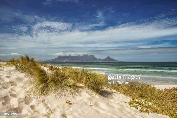 table bay view, bloubergstrand, cape town, south africa - reise stock pictures, royalty-free photos & images