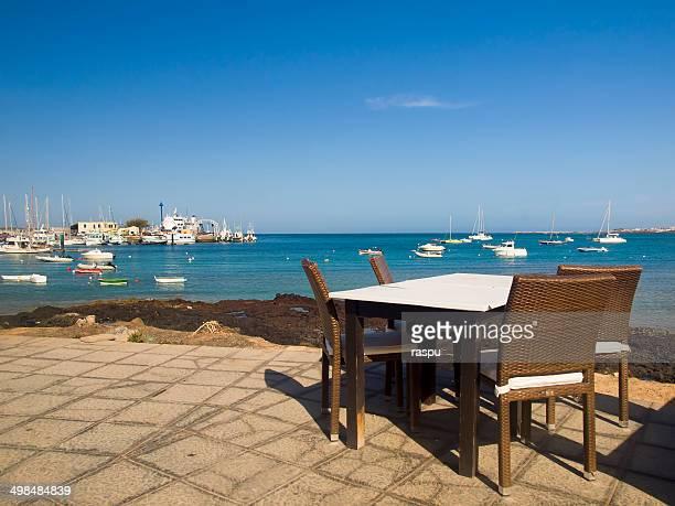 A table beside the ocean