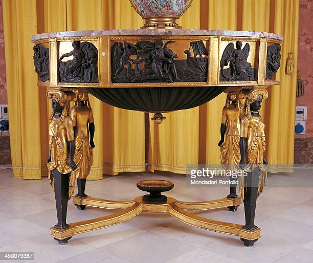 Table by Sicilian Manufacture 1810 1820 19th Century carved painted and gilded wood marble top 93 x 107 x 81 cm