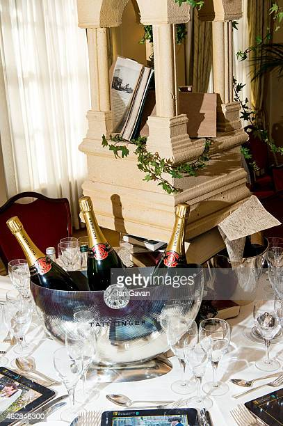 Table centrepieces are prepared ahead of the British Academy Film Awards at Grosvenor House on February 6 2015 in London England The annual BAFTA's...