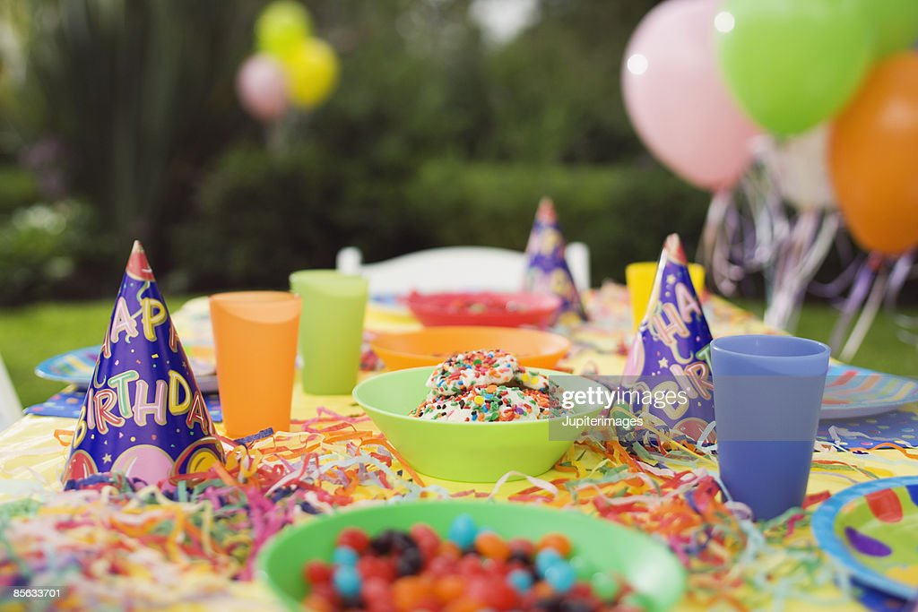 Table decorated for birthday party : Stock Photo