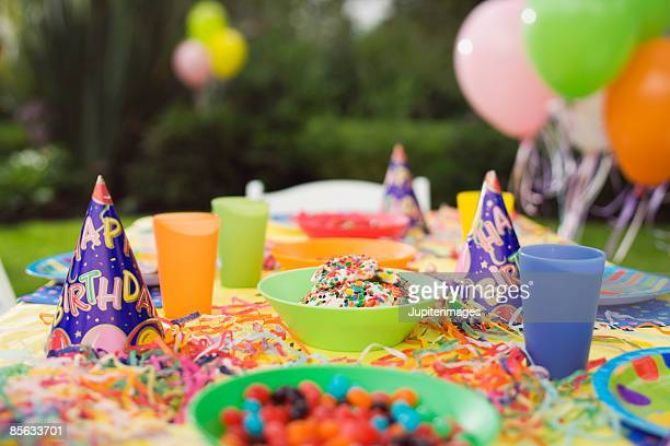 Table decorated for birthday party
